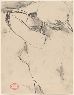 Untitled [female nude with arm raised to eyes]