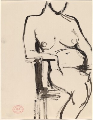 Untitled [female nude seated and leaning on chair arm]