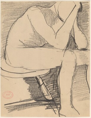 Untitled [seated figure with head in hands]