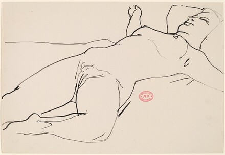 Untitled [reclining female nude with extended arms]