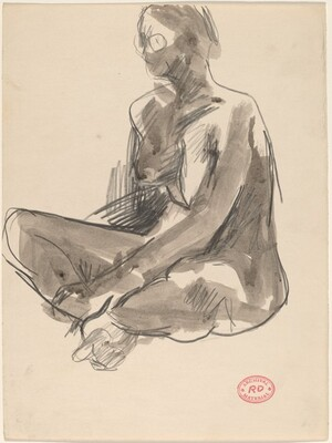 Untitled [seated nude facing left]