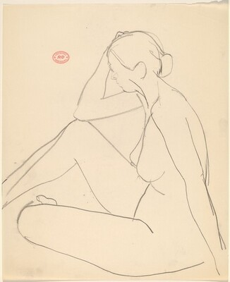 Untitled [seated female nude with elbow on knee]