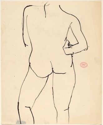 Untitled [standing nude with right arm on hip: back view]