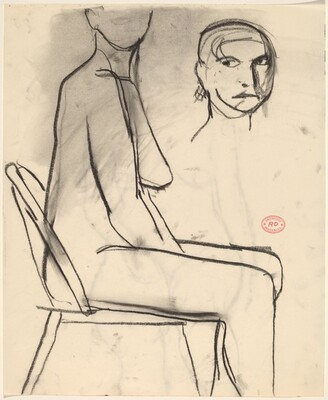 Untitled [side view of seated female nude with a detail of head]