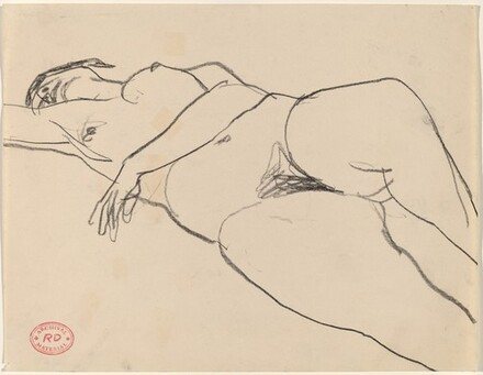 Untitled [nude reclining with her left arm across her belly]