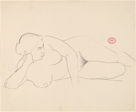 Untitled [female nude lying on her right side]