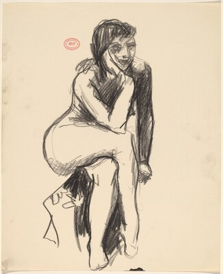 Untitled [seated female nude resting head on right hand]