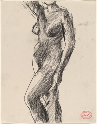 Untitled [standing nude raising her right arm]