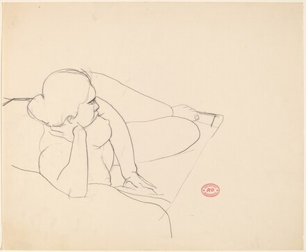 Untitled [reclining female nude in perspective view]