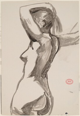 Untitled [side view of a nude with her left arm over her head]