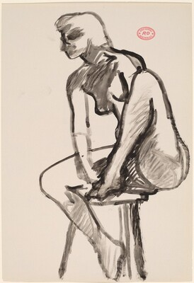 Untitled [female nude in stool with left foot on seat]