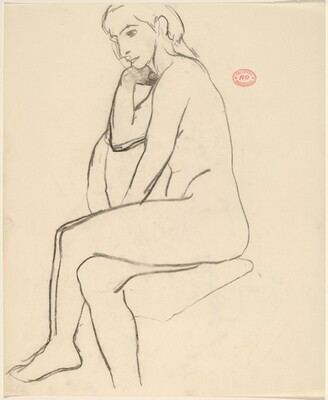 Untitled [seated female nude with crossed legs: side view]