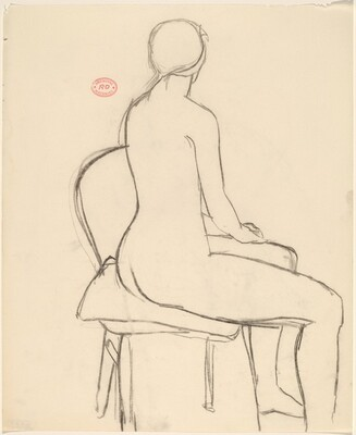 Untitled [female nude seated and turning away]