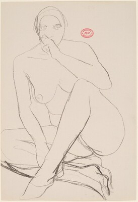 Untitled [seated female nude with hand to mouth]