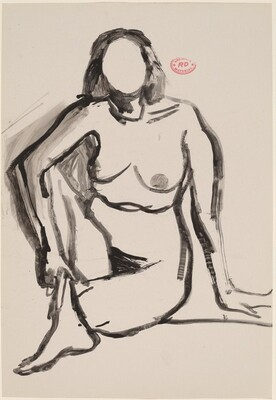 Untitled [seated female nude grasping her shin]