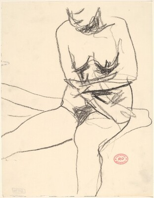 Untitled [seated female nude pulling her arms close to her body]