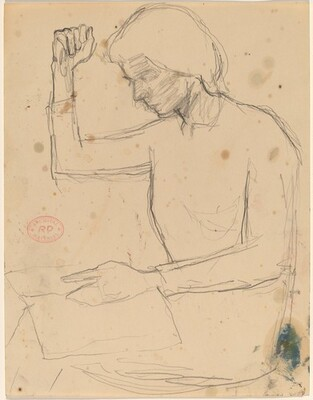Untitled [seated woman raising her right arm while looking at a book]