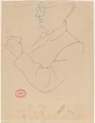 Untitled [man with glasses holding a cup]