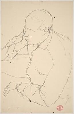 Untitled [man resting head on hand]