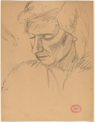 Untitled [head of a woman looking down in three-quarter view]
