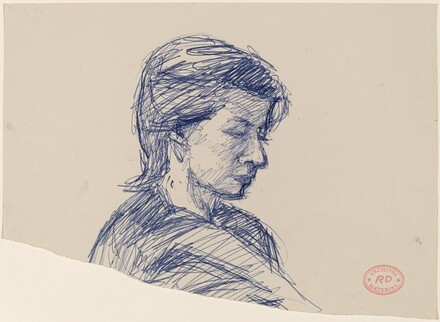 Untitled [head of a woman turned right and looking down]