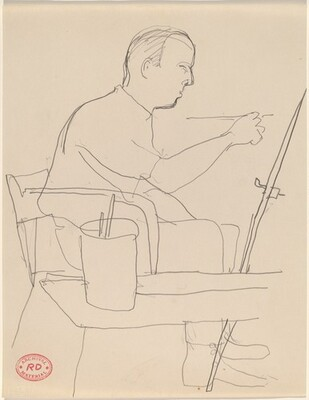 Untitled [man seated at an easel and painting]