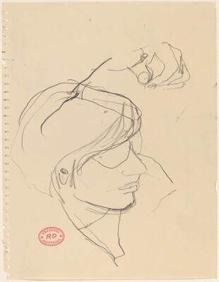 Untitled [study of a woman's head and hand]
