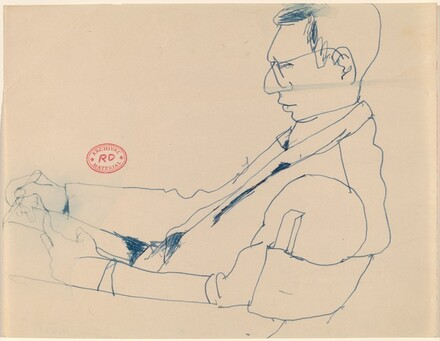 Untitled [side view of a seated man drawing]