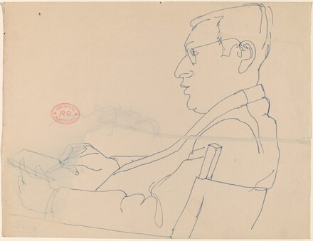 Untitled [side view of a seated man with glasses drawing]