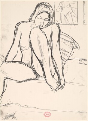 Untitled [seated nude examining her left foot]
