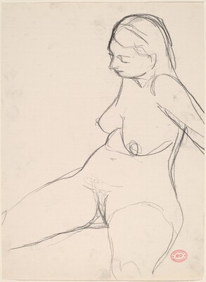 Untitled [seated female nude looking down]