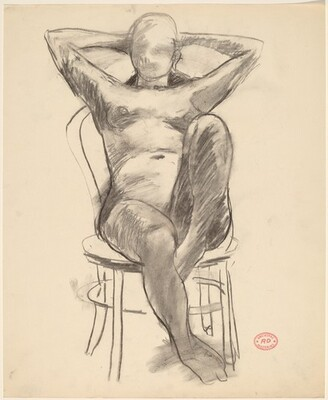 Untitled [female nude with raised arms leaning back in chair]