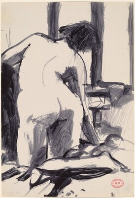 Untitled [back view of kneeling female nude]