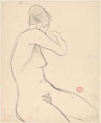 Untitled [female nude raising her right arm and turning away]