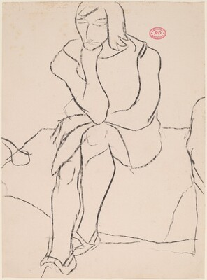 Untitled [seated woman resting chin on left hand]