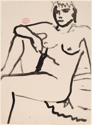 Untitled [seated female nude resting right arm on knee]