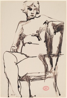 Untitled [seated female nude in a high back armchair]