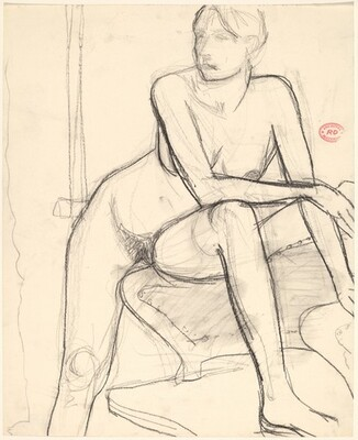 Untitled [nude with her left foot on a chair seat]