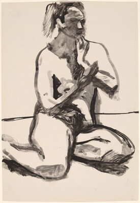 Untitled [seated female nude with hand to chin]