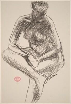 Untitled [seated nude leaning forward on crossed leg]