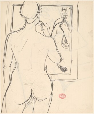 Untitled [standing nude applying lipstick in a mirror] [recto]
