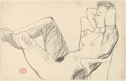 Untitled [nude leaning back in chair with her feet up]