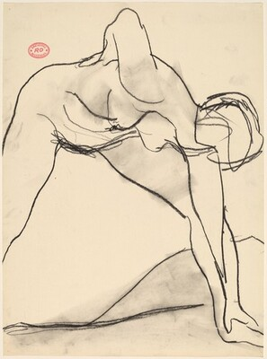 Untitled [female nude reaching down with left hand to grasp her foot]