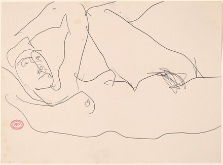 Untitled [reclining female nude with left arm and leg raised]