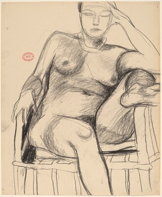 Untitled [seated female nude with left leg on chair arm]