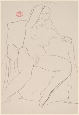Untitled [seated female nude with right arm behind her head]