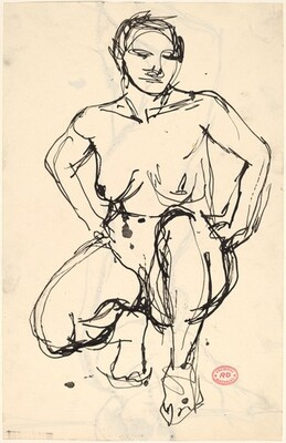 Untitled [squatting nude with her hands on her hips] [recto]