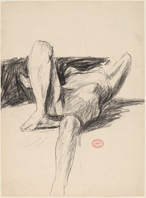 Untitled [reclining nude seen in deep perspective] [recto]