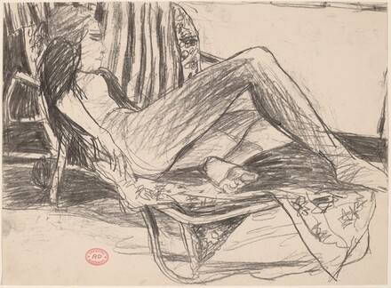Untitled [female nude reclining on a lounge chair]