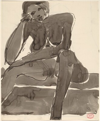 Untitled [seated nude resting her head on her right hand] [recto]